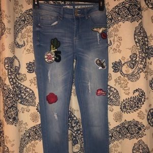 Distressed Embroidered Mid-Rise Jeans